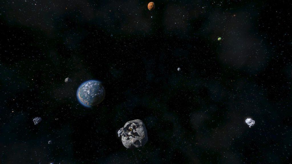 Imagen en la que se puede apreciar un mapa infinito de Space Engieners, con sus planetas y asteroides, tambien puedes observar que en uno de estos asteroides hay construcciones.